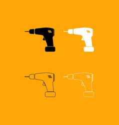 screwdriver set black and white icon vector image