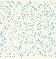 Seamless pattern with blue spring birds vector