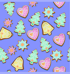 seamless pattern with christmas gingerbread vector image