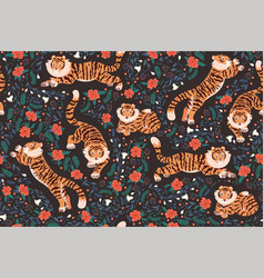 seamless pattern with tigers and flowers vector image