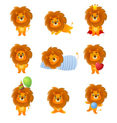 set cute different character lion poses and vector image