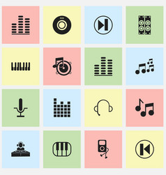 Set of 16 editable mp3 icons includes symbols vector