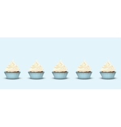 Set of 5 cupcakes with delicious cream vector image