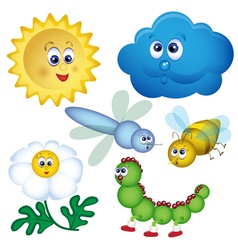 Set of bugs cartoon vector