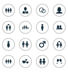 Set of simple beloved icons vector