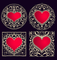 sketch of frames with hearts in henna style vector image