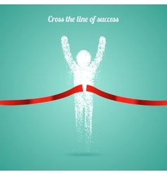 Successful man figure from triangular particles vector image