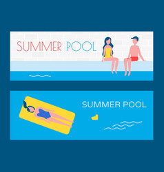 summer pool vacation posters vector image