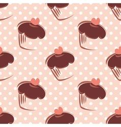 Tile pattern polka dots and cupcake vector image