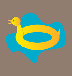 Toy inflatable duck ring with blue sea water vector