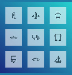transport icons line style set with auto plane vector image