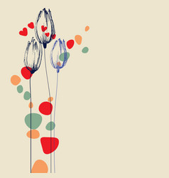 tulip flowers hand drawn ornament for festive vector image