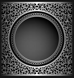Vintage black background with swirly ornament vector