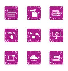 web share icons set grunge style vector image