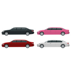 White black red pink limousines isolated on vector