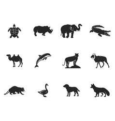 Wild animal figures and shapes collection isolated vector