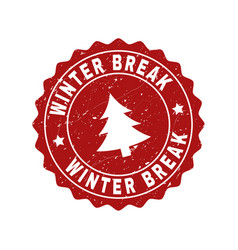 Winter break scratched stamp seal with fir-tree vector