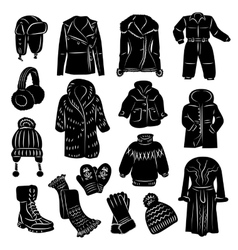 Winter clothing icons set vector