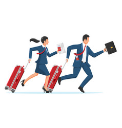 woman and man with travel bag business trip vector image