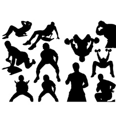 Home Fitness Silhouettes vector image