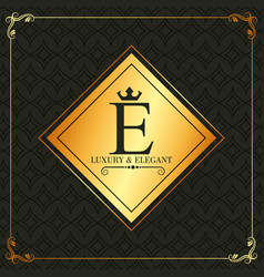 luxury and elegant e letter frame decoration vector image