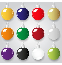 shiny christmas decoration color small baubles vector image vector image