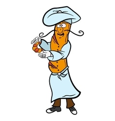 Baguette cartoon French chef character prepares vector image vector image