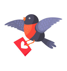 bullfinch bird with red chest hold love envelope vector image