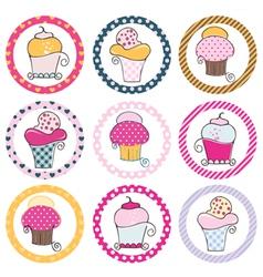 Cupcake tag set vector image vector image
