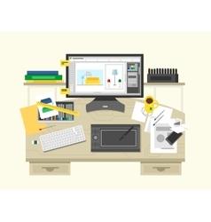 Interior design workspace vector image vector image