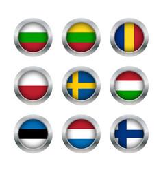 Flag buttons set 3 vector