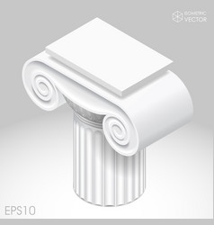 isometric white capital of ancient column vector image vector image