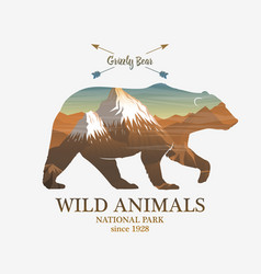 mountains and bear silhouette wild animal vector image