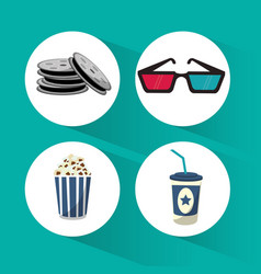 set cinema film movie icons vector image