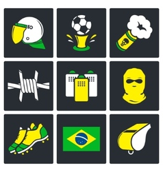 Soccer fans ultras icons set vector