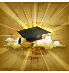 Graduation cap and diploma old style background vector image vector image