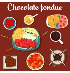 Melted chocolate fondue with cookies and vector