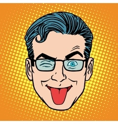Retro Emoji tongue teasing monkey man face vector image vector image