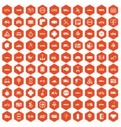 100 location icons hexagon orange vector