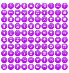 100 street food icons set purple vector