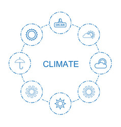 8 climate icons vector image