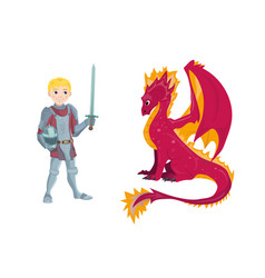 A cartoon dragon and young knight character in his vector