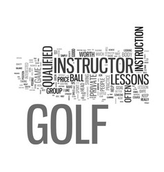 Are golf lessons worth the price text word cloud vector