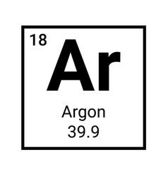 Argon periodic table element symbol chemistry vector