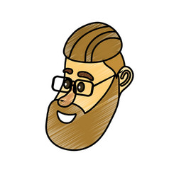 Avatar man face with hairstyle design vector