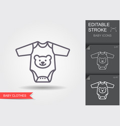 baby rompers line icon with editable stroke vector image