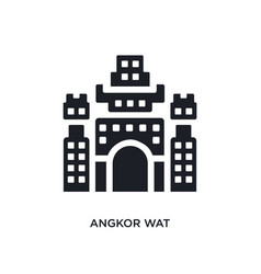 Black angkor wat isolated icon simple element vector