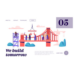 builder construct brick bridge with construction vector image