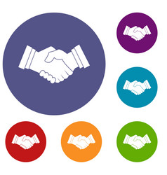 business handshake icons set vector image
