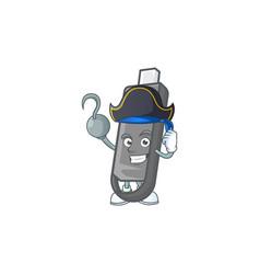 Calm one hand pirate flashdisk mascot wearing hat vector
